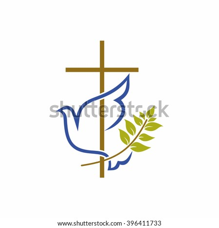 Church logo. Christian symbols. Cross, dove and olive branch. - stock vector