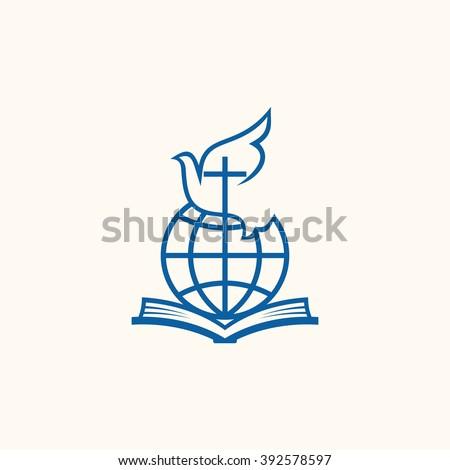 Church logo. Christian symbols. Holy bible, world, cross and dove - stock vector