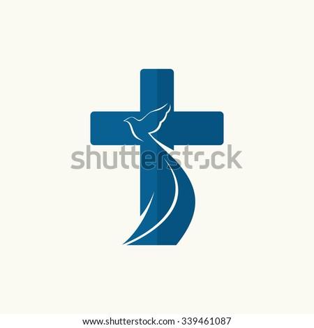 Church logo. Cross and dove, symbol of the Holy Spirit - stock vector