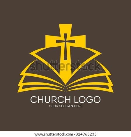 Church logo. Cross and open bible - stock vector