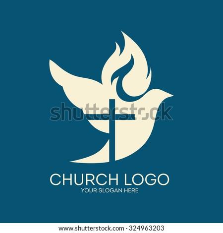 Church logo. Dove, cross, flame, Holy Spirit - stock vector