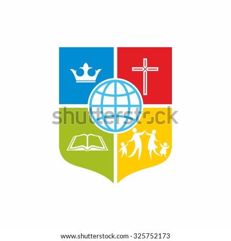 Church logo. Family, bible, globe, cross and crown. - stock vector