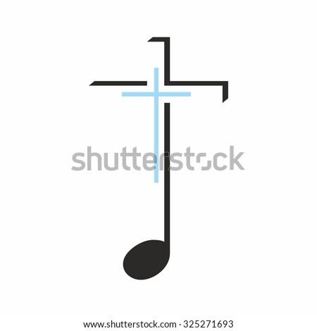 Church logo. Music cross - stock vector