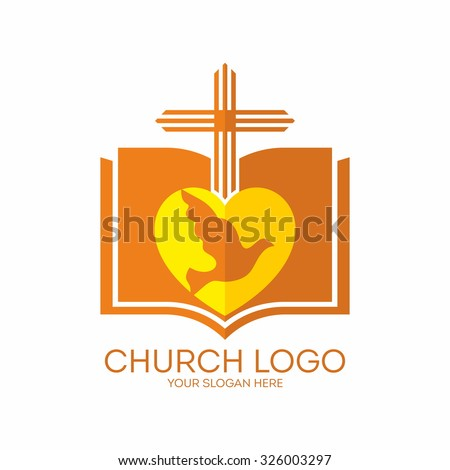 Church logo. Open bible, heart, cross and dove. - stock vector