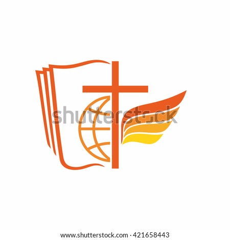 Church logo. The Bible, the Cross of Jesus, world, angel. - stock vector