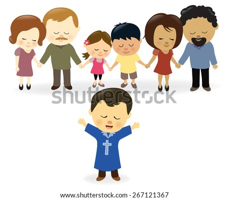 Church praying - stock vector