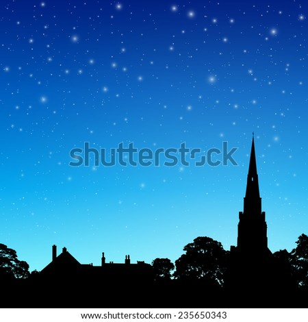 Church Spire in Silhouette with Night Sky and Stars. - Vector EPS 10 - stock vector