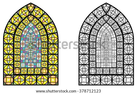 Church stained glass windows, vector illustration in color and line drawing. - stock vector