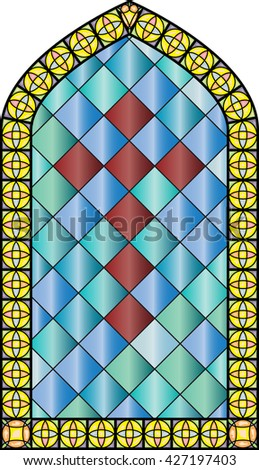 Church stained glass windows, with a cross. vector color illustration. - stock vector