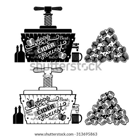 Cider Press with heap of Apples. Tube with mill for juice. Vintage engraving style - stock vector