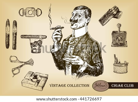 Cigar, lighter, ashtray, guillotines for cigars, gilded cutter, scissors, glass of whiskey. Elegant gentleman holding glass of beverage and cigar.Vintage illustration in engraving style - stock vector