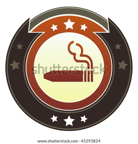 Cigar or smoking permitted icon on round red and brown imperial vector button with star accents - stock vector