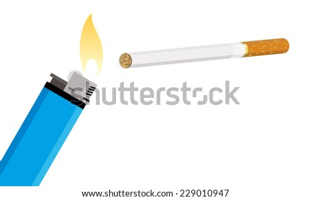 cigarette and lighter - stock vector