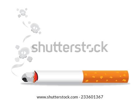 Cigarette burns. Illustration on white background, Vector Cigarette and Smoke - stock vector