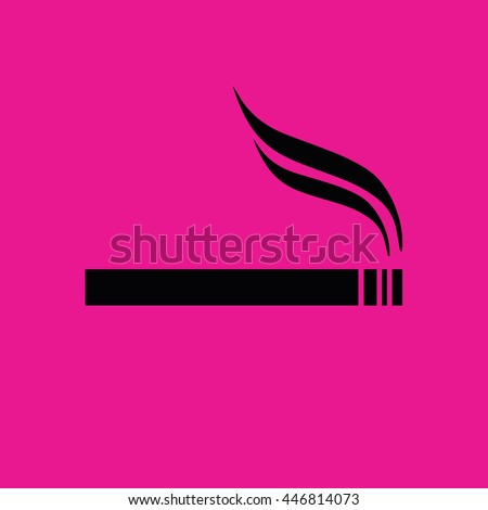 Cigarette icon vector. Allowed smoking sign. Pink background - stock vector