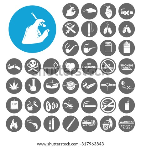 Cigarette icons set. Illustration EPS10 - stock vector