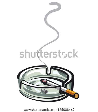cigarette in ashtray - stock vector