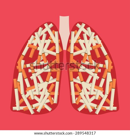 cigarette in the lung . - stock vector