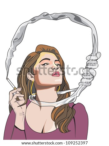 Cigarette Kills You, woman smoking, noose around the neck, vector illustration - stock vector