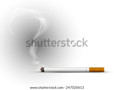 Cigarette. Smoke in the form of a question mark. Vector. - stock vector