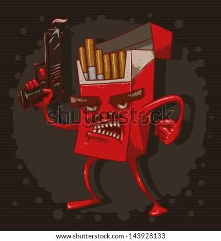 Cigarettes are killing 03, vector - stock vector