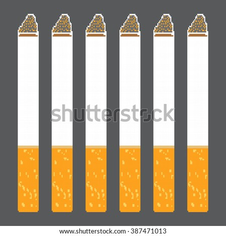Cigarettes Pixel Art on Background - stock vector