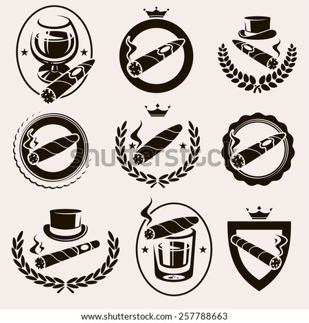 Cigars label and icons set. Vector - stock vector