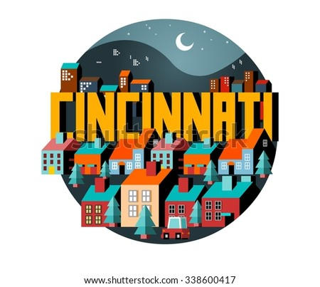 Cincinnati beautiful city to visit. vector cartoon - stock vector