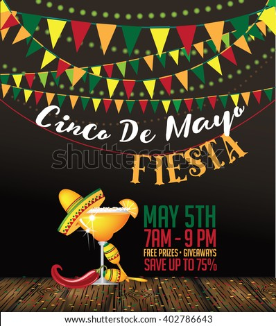 Cinco De Mayo bunting background. Cinco de Mayo ad, signage, card, invitation template. Colorful layout for Cinco de Mayo fiesta with copy space. EPS 10 vector royalty free stock illustration. - stock vector