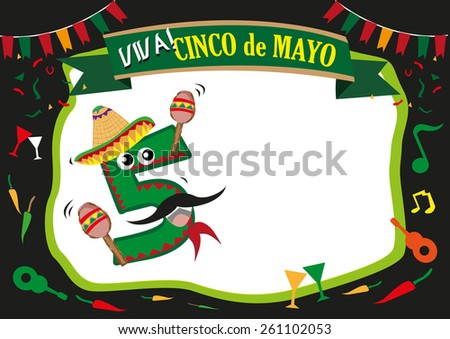 Cinco de Mayo celebration frame design and Number 5 as a Pinata Mascot cartoon character wearing a Mexican costume for the street festival. Editable EPS10 Vector Illustration and jpg. - stock vector
