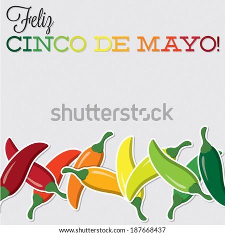 Cinco De Mayo chilli card in vector format. - stock vector