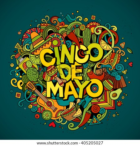 Cinco de Mayo colorful festive background. Cartoon vector hand drawn Doodle illustration. Multicolored bright detailed design with objects and symbols. All objects are separated - stock vector