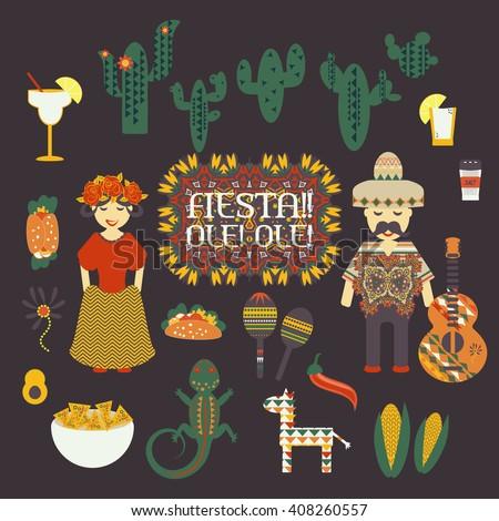 Cinco de Mayo fun holiday vector illustration. Traditional Mexican symbols, national elements - guitar, sombrero, chili pepper, shot drink tequila, taco, maracas, pinata, cactus Travel to Mexico icons - stock vector