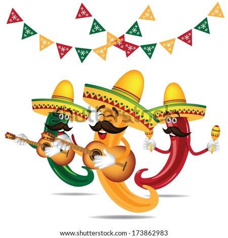Cinco De Mayo Mariachi jalapeno band with guitar and maracas EPS 10 vector, grouped for easy editing. No open shapes or paths.  - stock vector