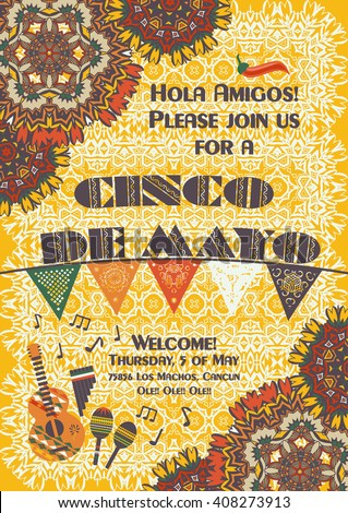 Cinco de Mayo Mexican festive poster template, background with ethnic ornament patterns, cut out paper banner, garland. Card template for greetings, invitations or posters with ethnic mandala pattern. - stock vector