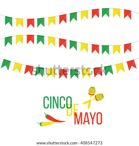 Cinco de Mayo mexican greeting card. Vector illustration with colorful flags, peppers and maracas. - stock vector