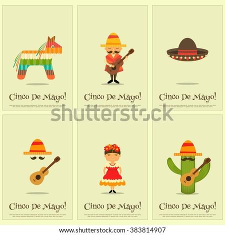 Cinco de Mayo - Mexican Mini Posters Collection in Retro Style. Vector Illustration. - stock vector