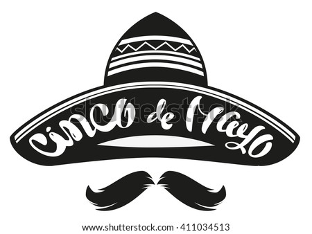 Cinco de Mayo. Mexican wide brimmed hat sombrero. Lettering text header for greeting card. Isolated on white vector illustration - stock vector