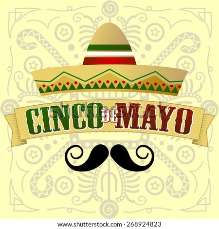 Cinco de Mayo Moustache. Vector Illustration - stock vector