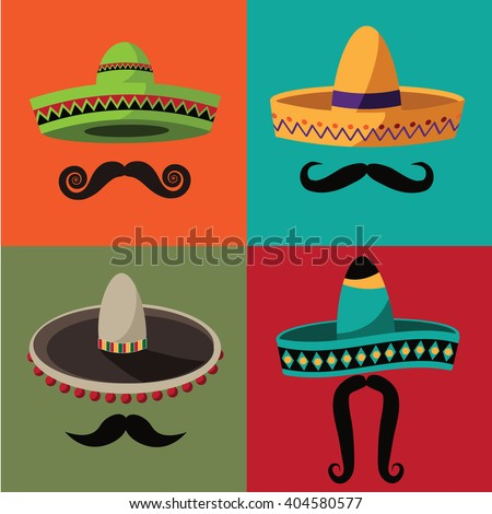 Cinco De Mayo sombrero and mustache set. EPS 10 vector royalty free stock illustration perfect for advertising, poster, announcement, invitation, party, greeting card, fiesta, bar, restaurant, menu - stock vector