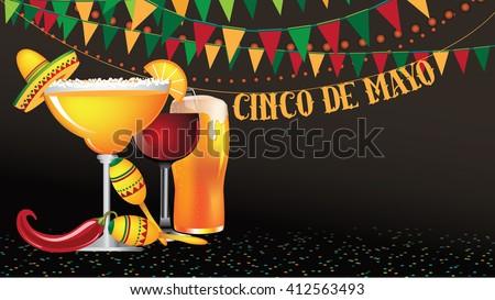 Cinco De Mayo widescreen bunting background. EPS 10 vector. - stock vector