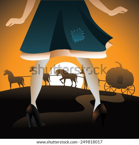 Cinderella sees her pumpkin coach EPS 10 vector royalty free stock illustration for blog, article, children's party, invitations, ad, marketing, fairy tale, engagement, wedding, dating, announcement - stock vector