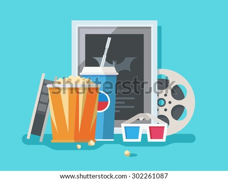 Cinema accessories. Movie and popcorn, strip and snack, 3d glasses and soda, vector illustration - stock vector