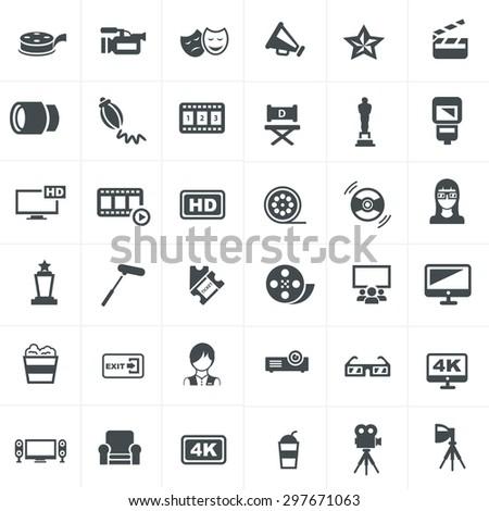 Cinema And Movie Icons Set Design. - stock vector