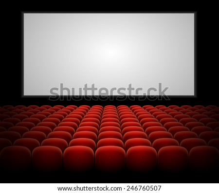 Cinema auditorium with red seats and blank screen vector  - stock vector
