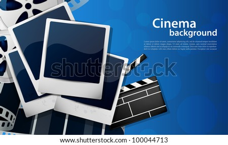 Cinema background with photoframe in blue color - stock vector