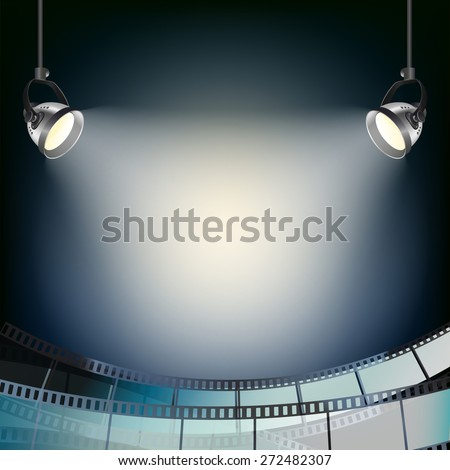 cinema blue background with spot lights and filmstrip - stock vector