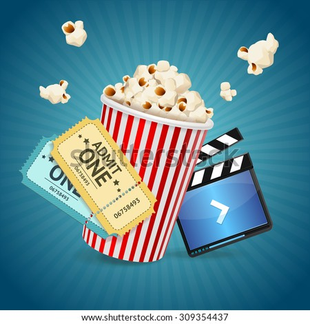 Cinema concept. Poster template with film clapper, popcorn, tickets. Vector illustration - stock vector