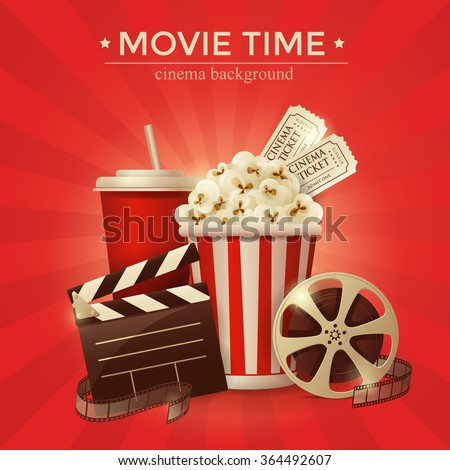 Cinema concept poster with popcorn bowl, film strip and tickets, realistic detailed vector illustration - stock vector