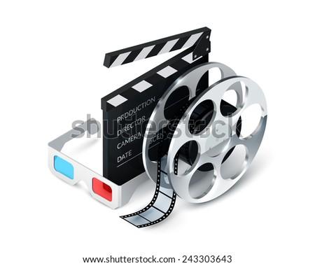 Cinema concept realistic with 3d glasses film strip clapper decorative icons vector illustration - stock vector